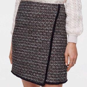 Ann Taylor Loft Fringe Tweed Skirt 0 NWT